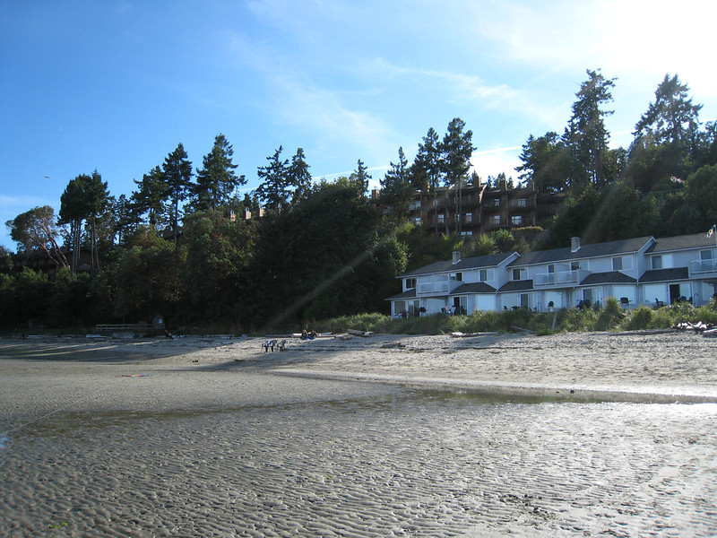 A view from the beach of our hotel in Parksville
