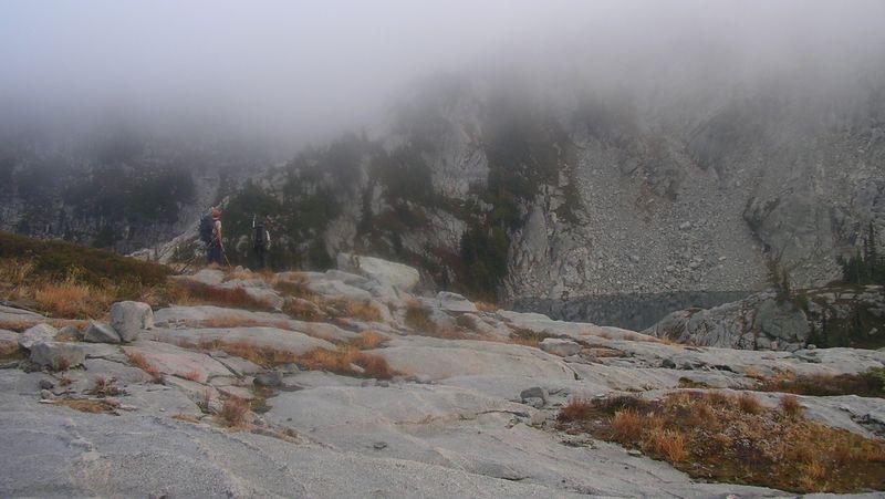 Robert and Andy below the mist at Robin Lakes.
