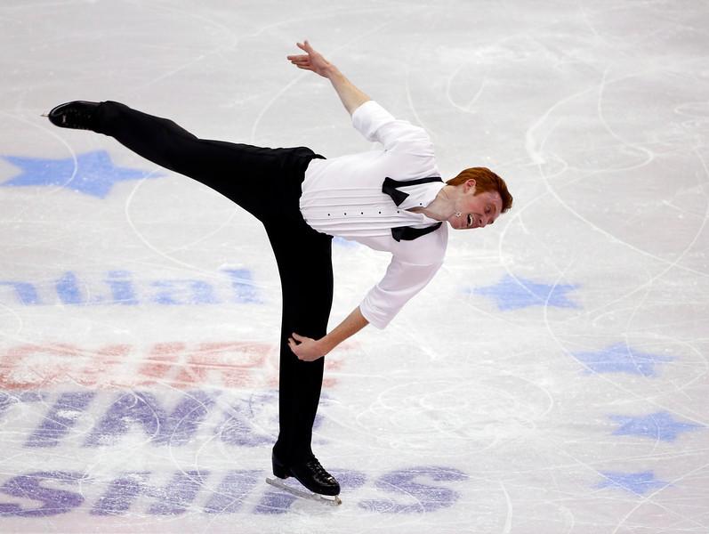 . Sean Rabbitt competes in the men\'s free skate at the U.S. Figure Skating Championships in Boston, Sunday, Jan. 12, 2014. (AP Photo/Elise Amendola)