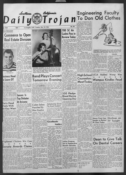 Daily Trojan, Vol. 43, No. 98, March 18, 1952