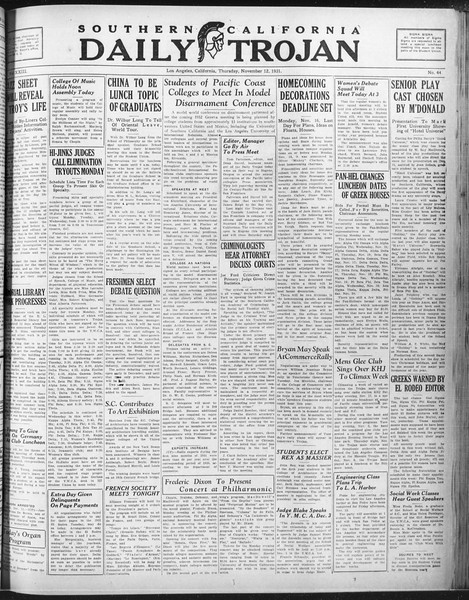 Daily Trojan, Vol. 23, No. 44, November 12, 1931