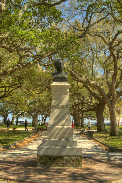 A statue devoted to William Gilmore Simms, a noted poet, novelist, and historian, in White Point Gardens at The Battery in downtown Charleston, SC on Saturday, March 9, 2013. Copyright 2013 Jason Barnette