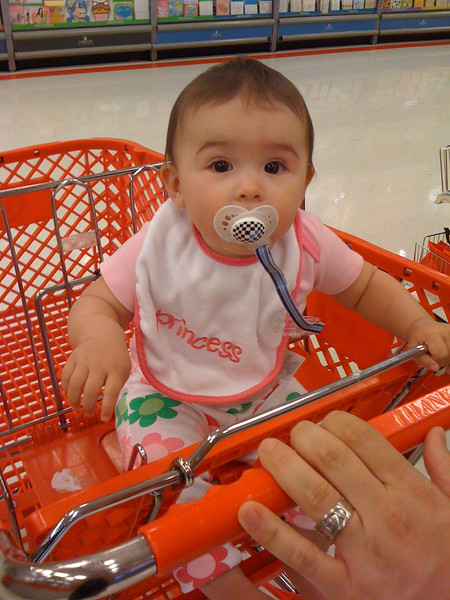 Leela's first trip in a shopping cart without the carseat.