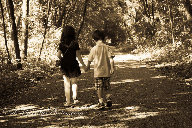 Out for a stroll: I took the kids out for a walk along a bike path near the house