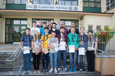 Pictured are some of the students at St Joseph's Boys' High School who received their GCSE Results. Also pictured are Head of Geography Elizabeth Fitzpatrick and Head of Music Sharon Madden-Byrne. R1535020