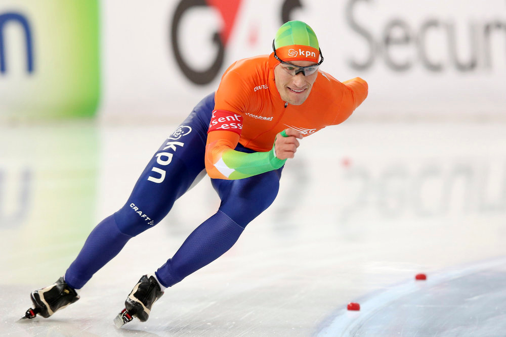 . Renz Rotteveel of the Netherlands skates during the 500m event at the World Speedskating Championships in Hamar in this picture provided by NTB Scanpix February 16, 2013. REUTERS/Hakon Mosvold Larsen/NTB Scanpix