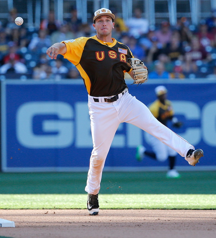 . U.S. Team\'s Alex Bregman, of the Houston Astros, throws during the seventh inning of the All-Star Futures baseball game, Sunday, July 10, 2016, in San Diego. (AP Photo/Lenny Ignelzi)