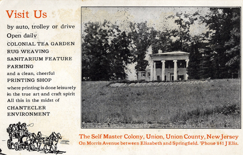 Promotional Post Card for the colony with an invitation to a lecture on the back side shown in the following image.