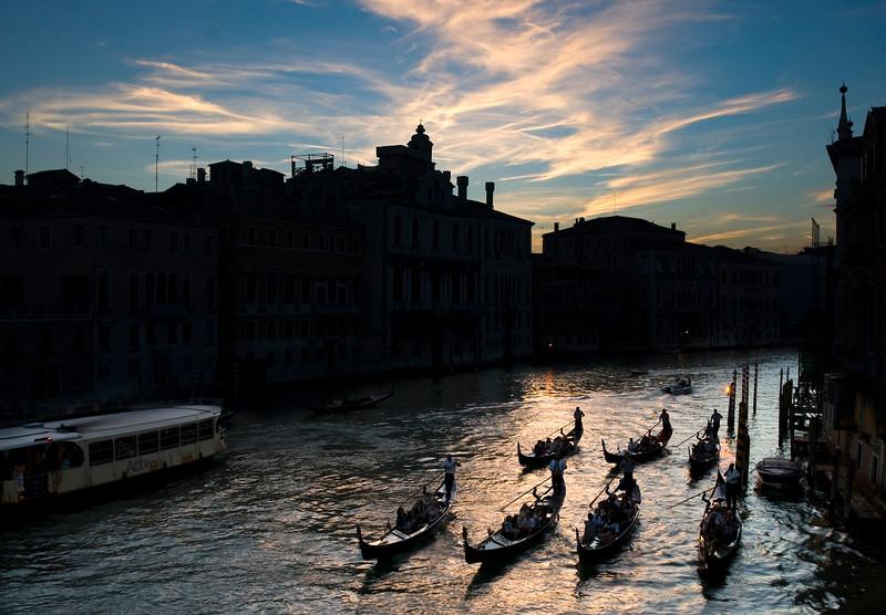Gondolas at dusk on Canal Grande from Accademia bridge, Venice, Italy