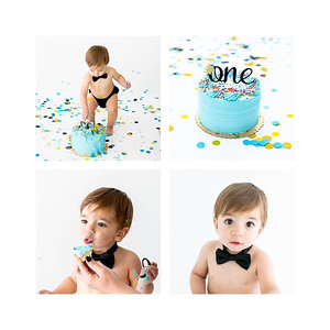 1 year old cake smash - studio style cake smash - Hayzen