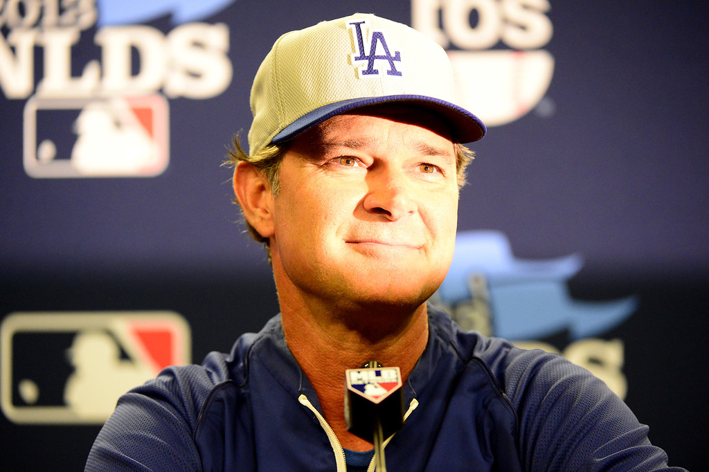 . Dodgers\' manager Don Mattingly speaks to the press before the first game of the playoffs Thursday, October 3, 2013 at Turner Field in Atlanta, Georgia. (Photo by Sarah Reingewirtz/Pasadena Star- News)