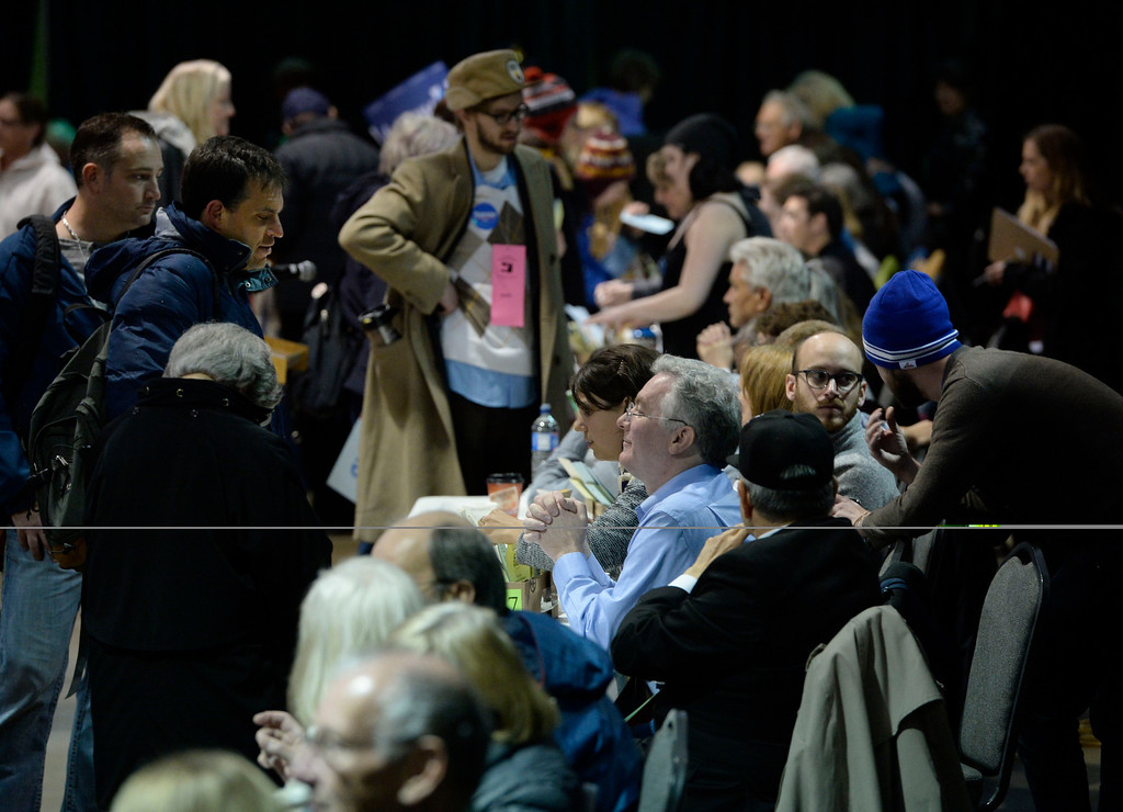 . Delegate registration area at the Colorado Democratic State Convention at the Budweiser Events Center April 17, 2016. (Photo by Andy Cross/The Denver Post)