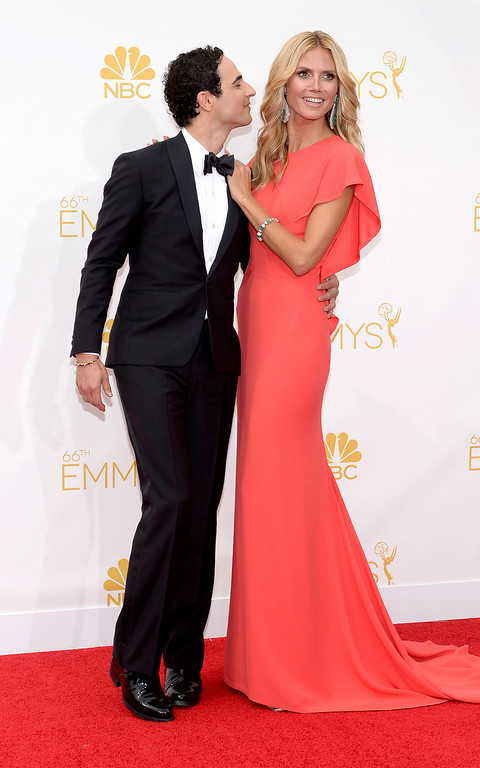 . Heidi Klum and Zac Posenon the red carpet at the 66th Primetime Emmy Awards show at the Nokia Theatre in Los Angeles, California on Monday August 25, 2014. (Photo by John McCoy / Los Angeles Daily News)