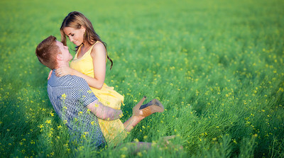Beautiful Yellow Field Engagement in Middleton, Idaho