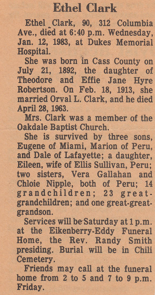 Newspaper Clipping - Obituary - Ethel Clark - January 12, 1983 (b).jpg