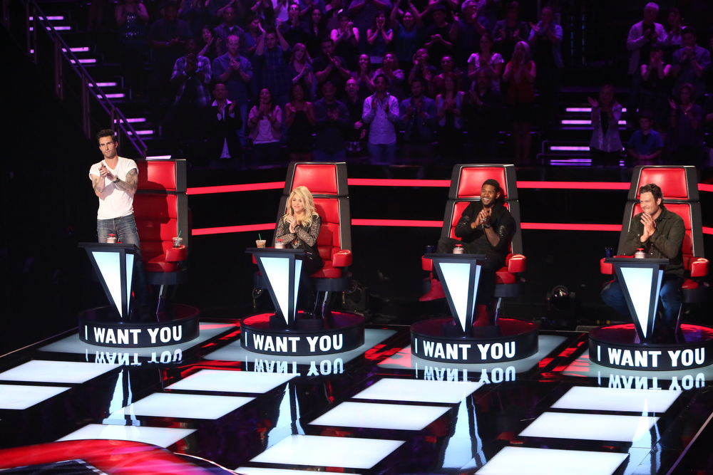""". THE VOICE -- \""""Blind Auditions\"""" -- Pictured: (l-r) Adam Levine, Shakira, Usher, Blake Shelton --- (Photo by: Adam Taylor/NBC)"""