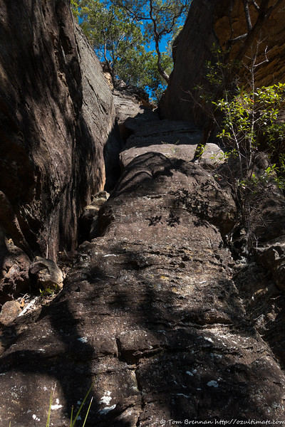 One possible route up through the cliffline...