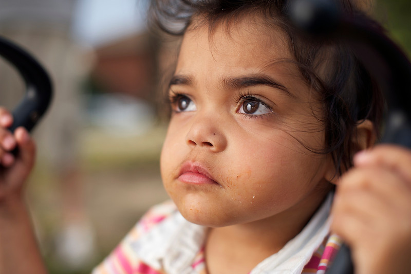 Indigenous Australian Girl looking upwards