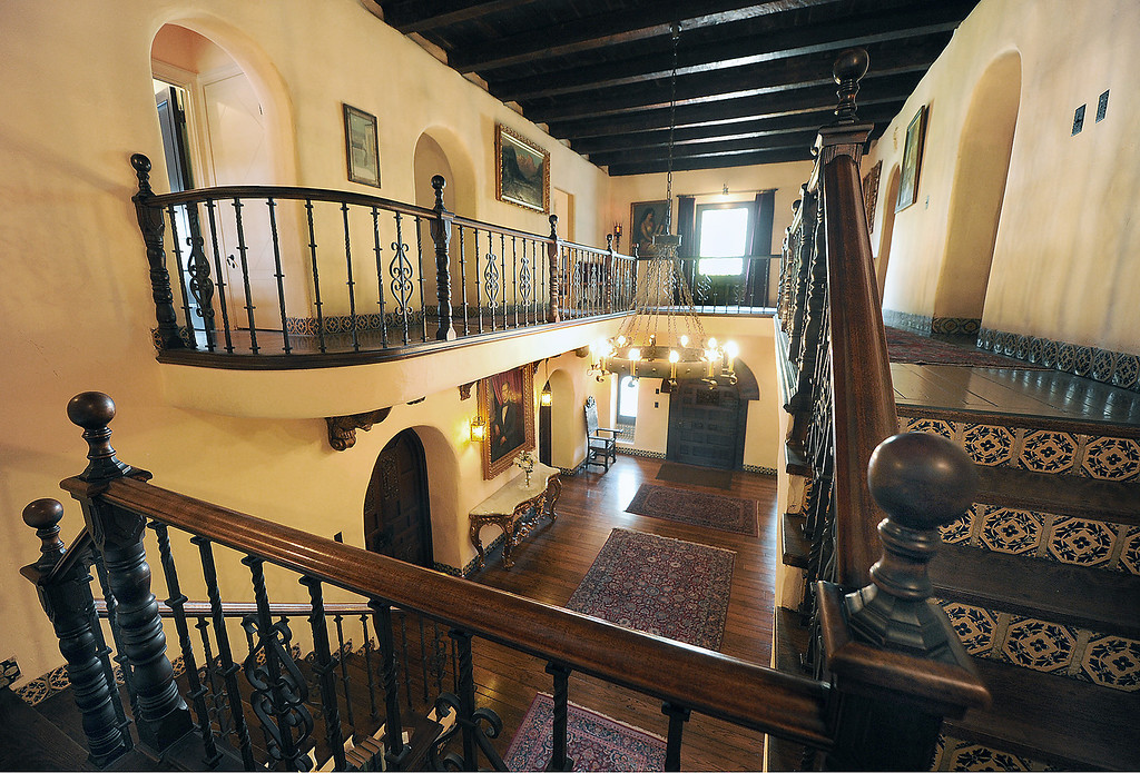 """. A tour of La Casa Nueva, or \""""the new house.\"""" Built between 1922 and 1927, this 12,400-square-foot Spanish Colonial Revival mansion is noted for its fine architectural crafts, including stained glass, ceramic tile, wrought iron, and carved wood. La Casa Nueva, or \""""the new house.\"""" The Homestead Museum will honor seven of its volunteers, all local La Puente and Hacienda Heights residents, at its annual Volunteer Appreciation Dinner on Sat., April 6. The volunteers have given more than 4,700 hours of their time to the museum giving tours of the historic homes and properties as well as during the museum\'s festivals, workshops, youth programs and more. The volunteers to be honored are well trained docents with several years of experience. Carol Hamilton (1,000 hrs) and Eldon Dunn (6,000 hrs) of Hacienda Heights. (SGVN/Photo by Walt Mancini/Highlanders)"""