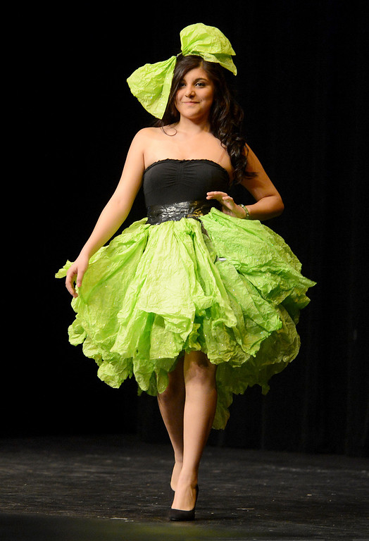 . Anayeli Sanchez received a prize for how her creation moved at the third annual Paper Skirt Fashion Show held at Liberty High School in Brentwood, Calif.  on Tuesday, Jan. 29, 2013. (Susan Tripp Pollard/Staff)