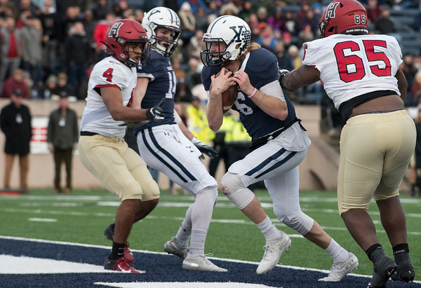 11/23/19 Wesley Bunnell | StaffrrYale rallied late in The Game against Harvard on Saturday afternoon at the Yale Bowl for a 50-43 victory in double over time. QB Kurt Rawlings (6) with a keeper for a touchdown.