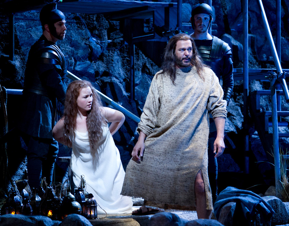". Yeshua (Nathan Gunn), right, comes to the defense of Mary Magdalene (Sasha Cooke) in a scene from San Francisco Opera\'s world premiere of Mark Adamo\'s ""The Gospel of Mary Magdalene,\"" Sunday, June 16, 2013 at the War Memorial Opera House in San Francisco. (D. Ross Cameron/Bay Area News Group)"