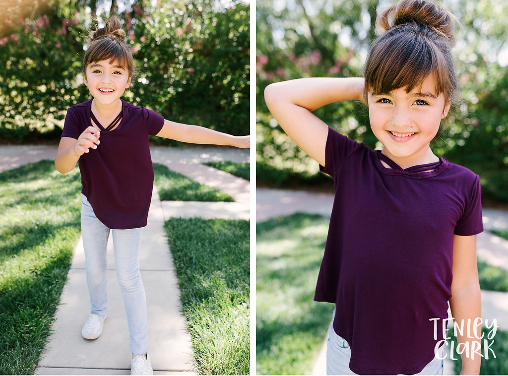Downtown Pleasanton, CA kids model headshots for JE Model by Tenley Clark Photography. Layla purple shirt