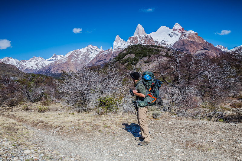 David Stock hiking in Patagonia
