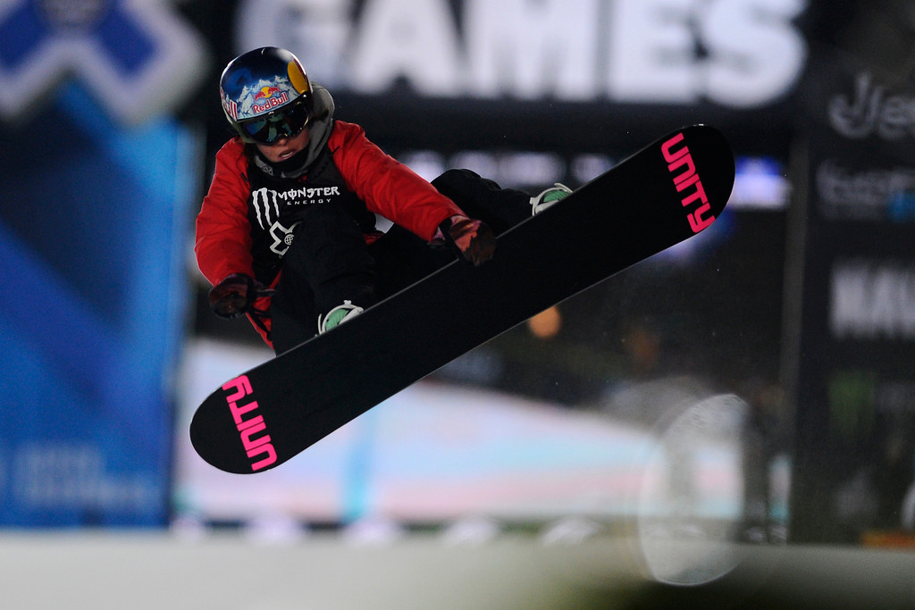 . Arielle Gold catches air in the pipe during the Women\'s Snowboard Superpipe finals, Saturday January 24, Winter X Games 2015 on Buttermilk Mountain.  (Photo By Mahala Gaylord/The Denver Post)