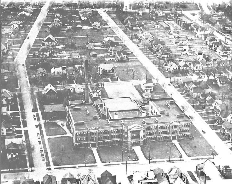 . Historic photo provided by Jim Smith <br> An aerial view shows Lorain High School and surrounding neighborhoods as they looked in 1935.