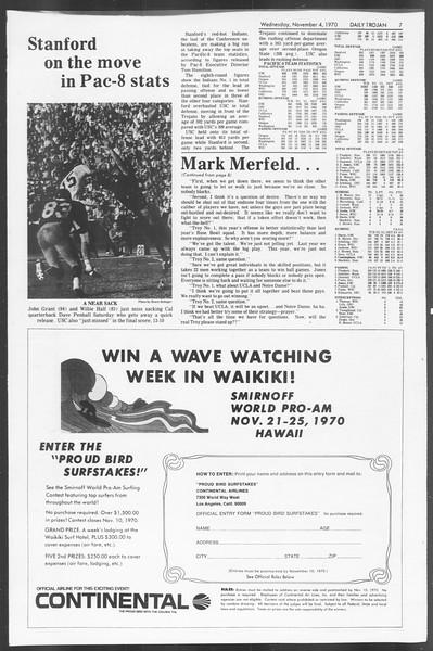 Daily Trojan, Vol. 62, No. 31, November 04, 1970