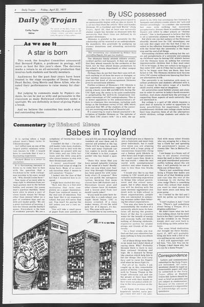 Daily Trojan, Vol. 71, No. 45, April 22, 1977