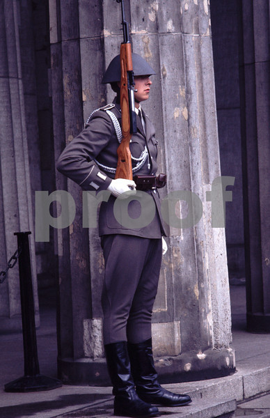 Guard at the entrance to the Tomb of the Unknown Soldier in former East Berlin, Germany.