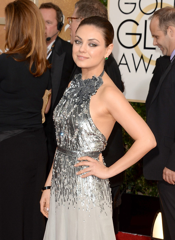 . Actress Mila Kunis attends the 71st Annual Golden Globe Awards held at The Beverly Hilton Hotel on January 12, 2014 in Beverly Hills, California.  (Photo by Jason Merritt/Getty Images)