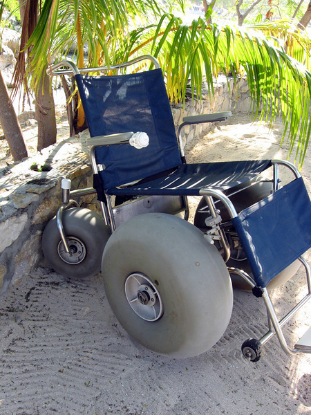 A big-wheel wheelchair on Labadee