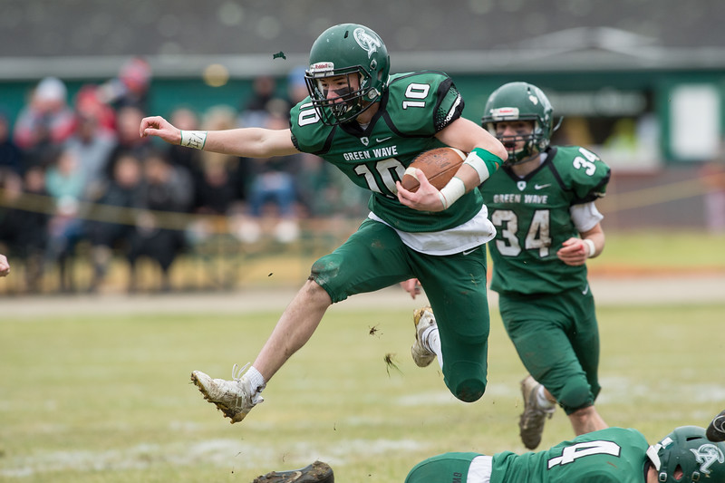 Abington RB/DB Tommy Fanara (10) Will Klein (4) converts a fake punt for a first down in the 109th Thanksgiving Day meeting between Abington and Whitman-Hanson  at Abingtons Frolio Field on 11/28/19 Abington would win the game 27-14 [Courtesy Photo/Bill Marquardt]