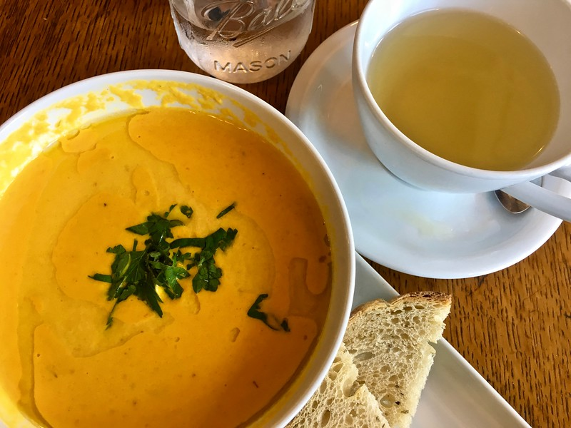 carrot lavender soup with bread and tea at at BirchTree Bread Company in Worcester, Massachusetts