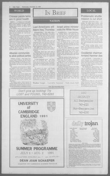Daily Trojan, Vol. 113, No. 68, December 12, 1990