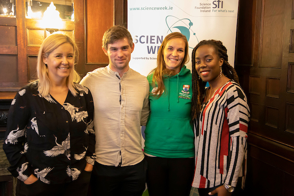 FREE TO USE IMAGE. Pictured during Science Week with WIT (Waterford Institute of Technology) by Calmast at PubHD at The Munster Bar. Pictured are Emma Maguire, Thomas Curran, Cordula Weiss Calmast WIT and Tatenda Mareya. Picture: Patrick Browne