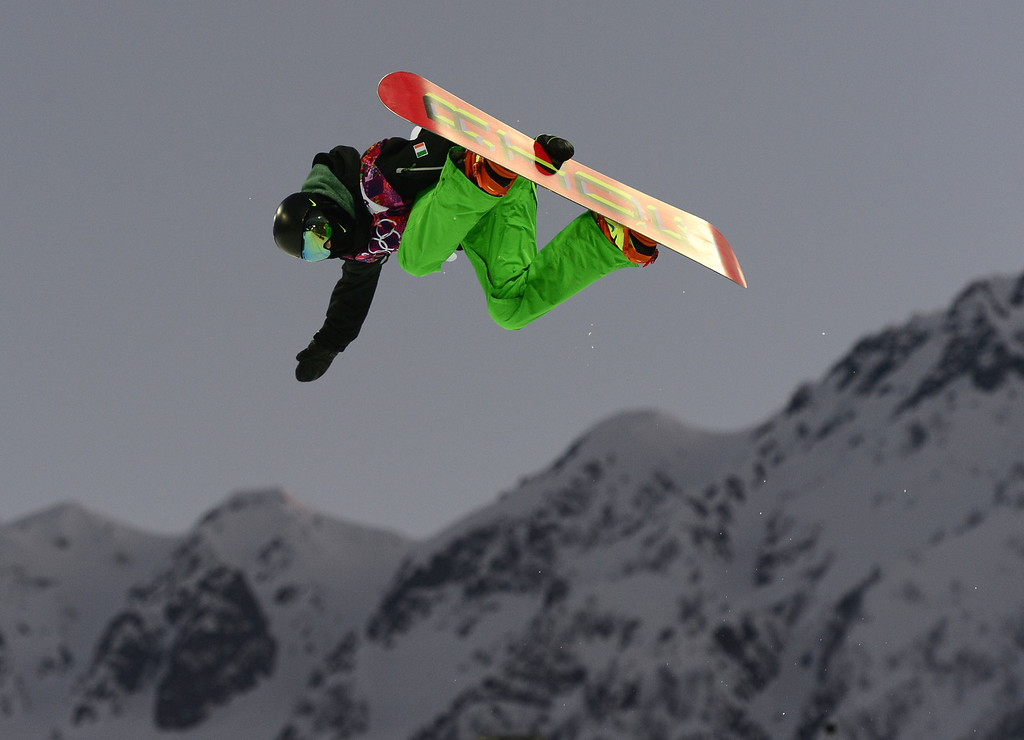 . Ireland\'s Seamus O\'Connor warms up before the start of the Men\'s Snowboard Halfpipe Semifinals at the Rosa Khutor Extreme Park during the Sochi Winter Olympics on February 11, 2014.    AFP PHOTO / JAVIER SORIANO/AFP/Getty Images