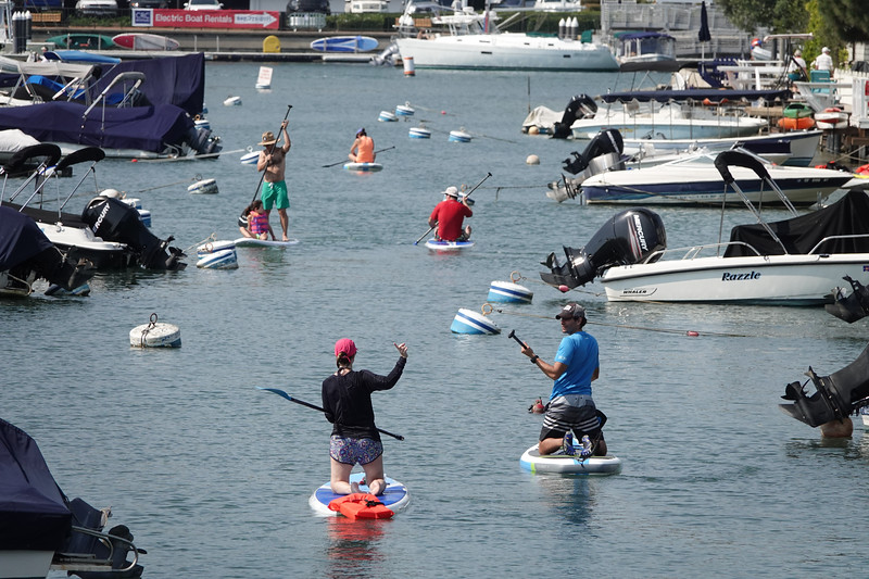 Traffic jam on a Saturday afternoon on lower Newport Harbor.