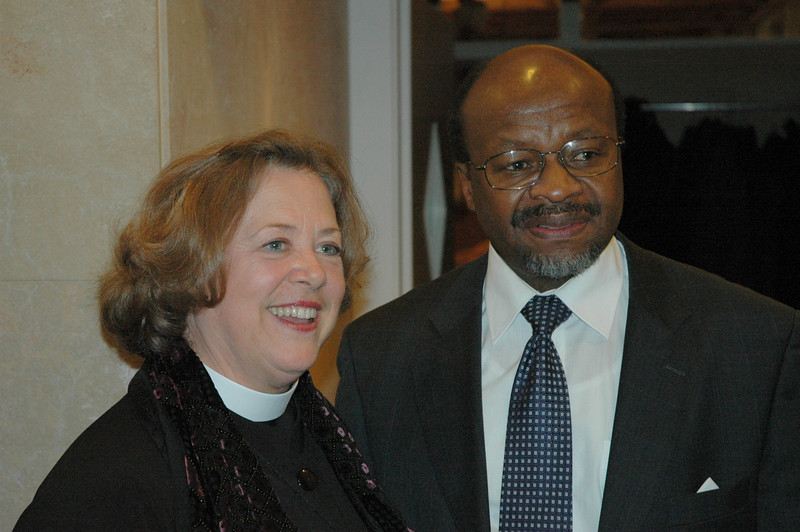 The Rev. Susan Langhauser, left, Olathe, Kan. ELCA Church Council member, with the Rev. Ishmael Nokoe, LWF general secretary, Feb. 15, in Geneva.