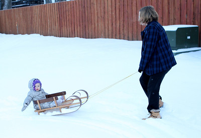 Ruth, Mommy & G-Papa K: Sledding & Snow Angels