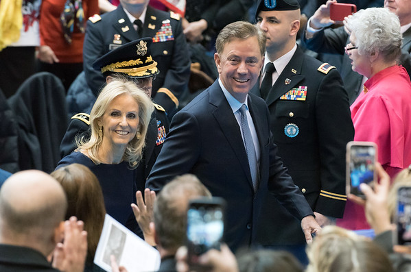 01/09/19 Wesley Bunnell | Staff Governor Ned Lamont and wife Ann Lamont walk out of the State Armory after being sworn in as governor.