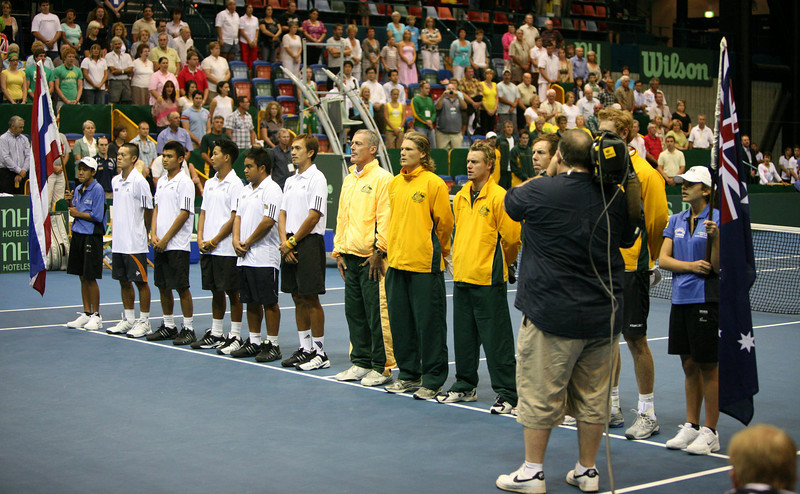 11 April 2008 Townsville, Qld, Australia - The Australian and Thai teams line up for the anthems at the opening of the Davis Cup tie - Photo: Cameron Laird (Ph: 0418 238811)