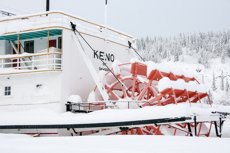 Ship covered in snow in Dawson City, Yukon, Canada