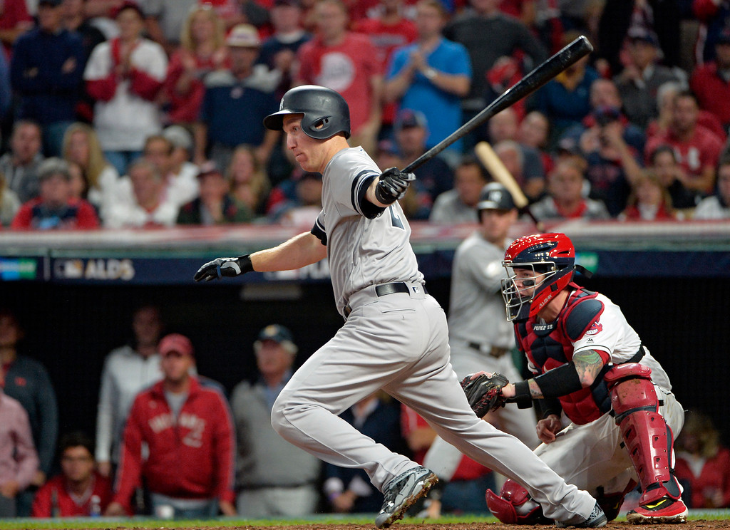 . New York Yankees\' Todd Frazier grounds out against Cleveland Indians starting pitcher Trevor Bauer in the fifth inning of Game 1 of baseball\'s American League Division Series, Thursday, Oct. 5, 2017, in Cleveland. (AP Photo/Phil Long)