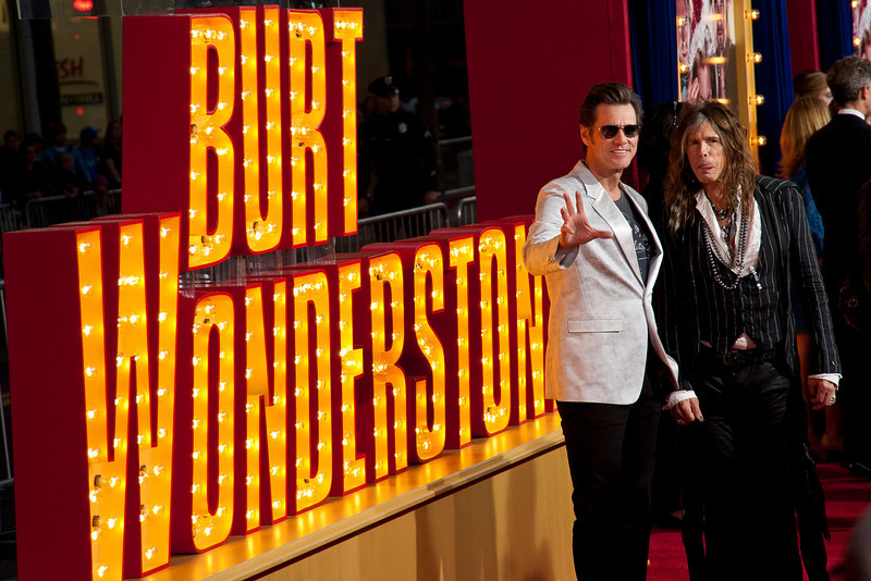 HOLLYWOOD, CA - MARCH 11: Actor Jim Carrey (L) and musician Steven Tyler attend the premiere of Warner Bros. Pictures' 'The Incredible Burt Wonderstone' at TCL Chinese Theatre on Monday, March 11, 2013 in Hollywood, California. (Photo by Tom Sorensen/Moovieboy Pictures)