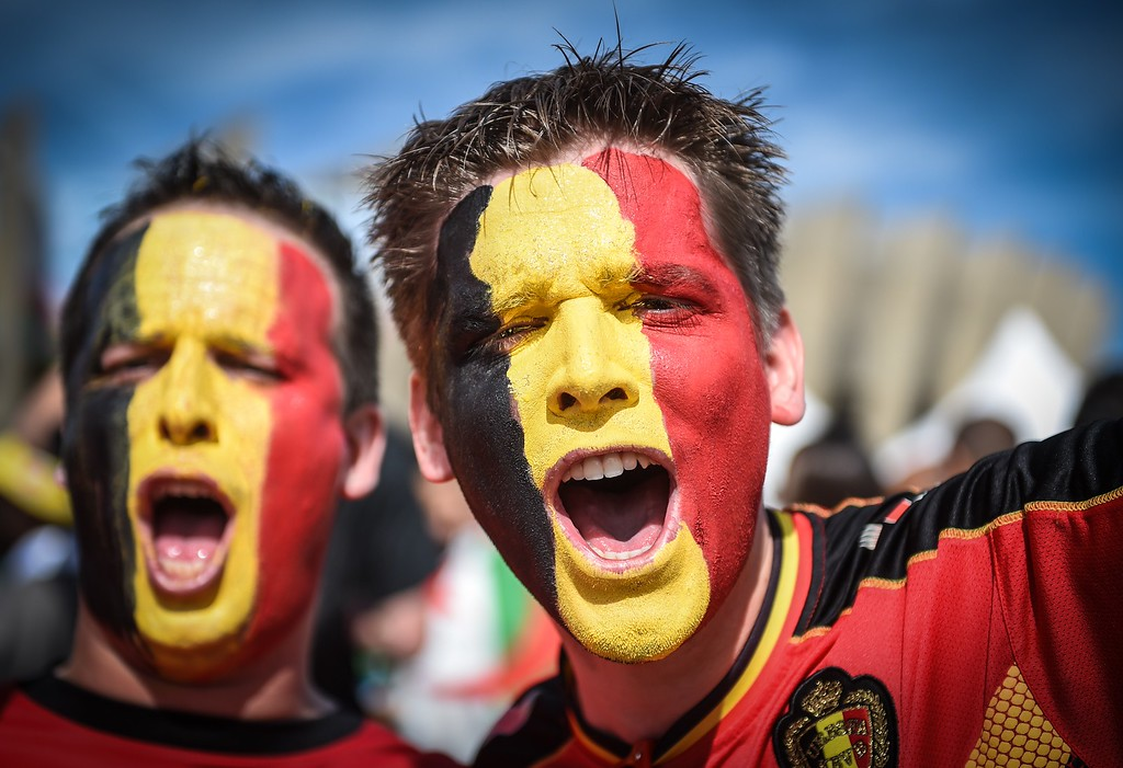 . Belgian supporters gather outside the Mineirao Stadium in Belo Horizonte, Brazil on June 17, 2014 before the match Belgium vs Algeria for the Group H of the FIFA World Cup Brazil 2014. AFP PHOTO / GUSTAVO  ANDRADE/AFP/Getty Images