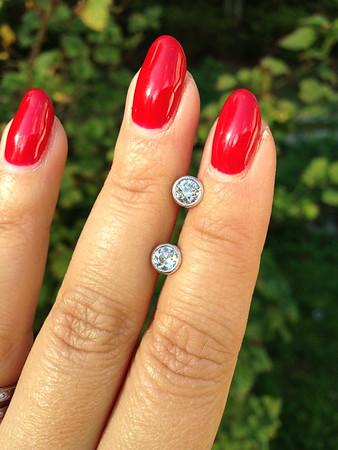 "0.95ctw Old European Cut Diamond Milgrained Bezel ""Sarah"" Earrings"